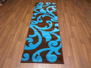 Modern Runners 60x220cm Aprox 8ft Hand Carved Super Quality Vine Brown/Teal New
